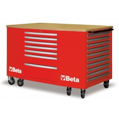 C31-R-MOBILE WORKSTATION 28 DRAWERS RED