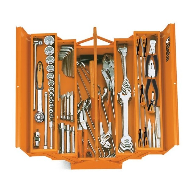 Five-section cantilever tool box, made from sheet metal with assortment of 68 tools,Beta 2120L-VU/AS