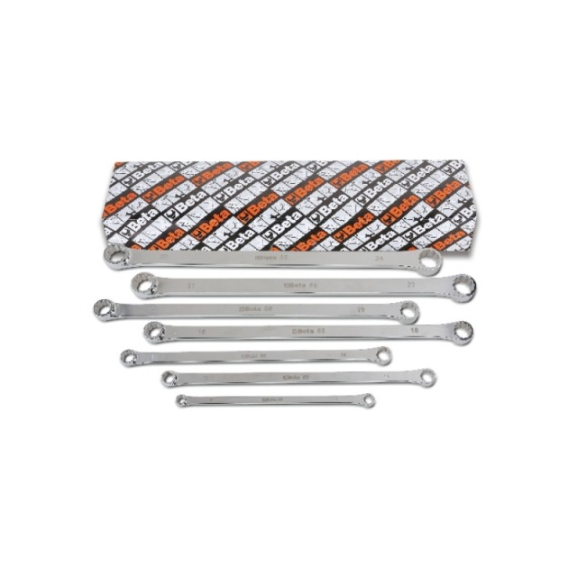 Set of 7 double ended flat ring wrenches, extra-long series - Beta 88/S7