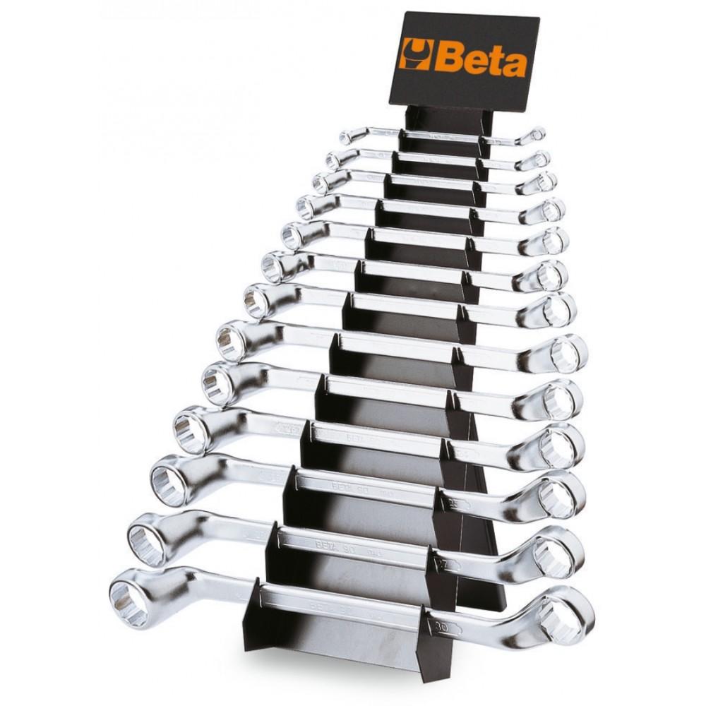 Serie di 13 chiavi poligonali doppie curve (art. 90) con supporto - Beta 90/SP