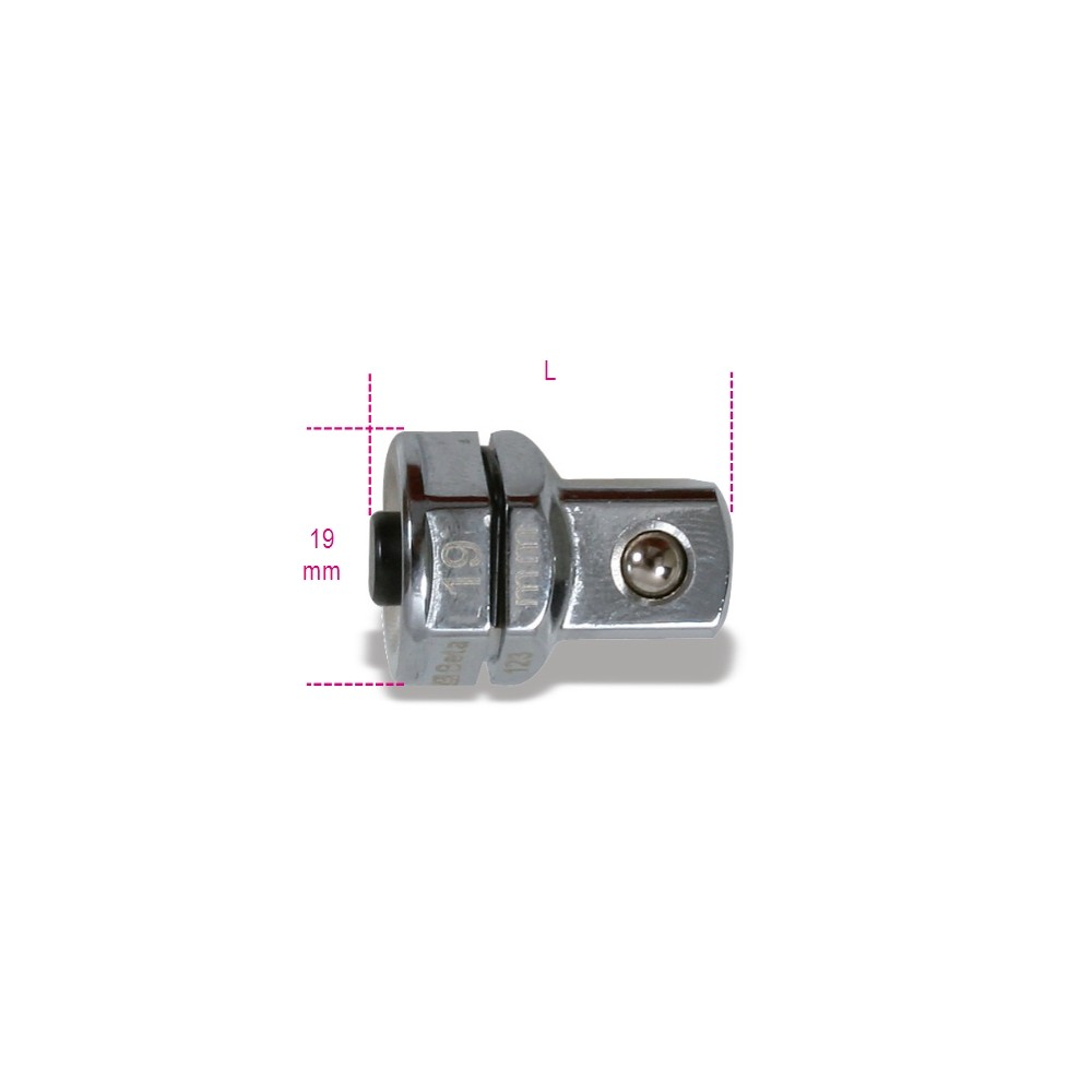 """Adattatore a sgancio rapido da 1/2"""" per chiavi a cricchetto da 19 mm cromato - Beta 123Q1/2"""