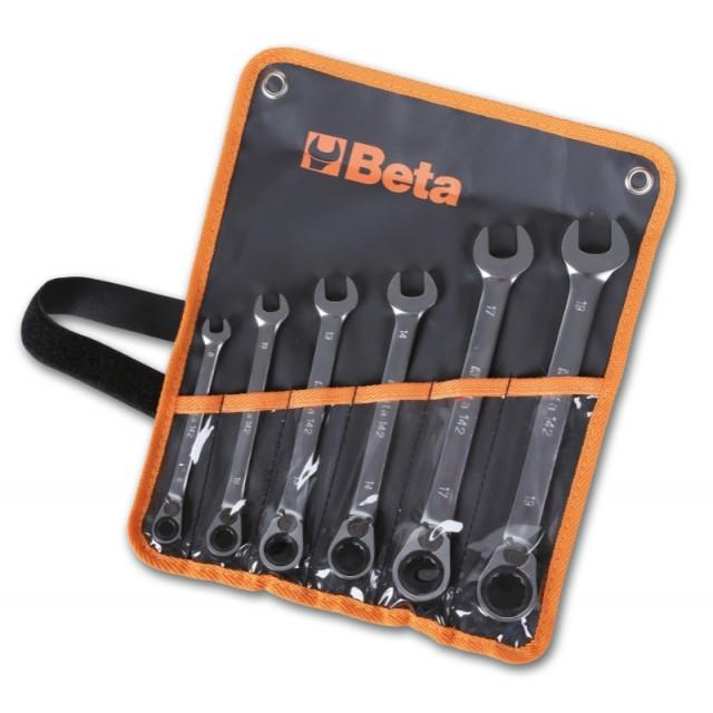 Serie di 6 chiavi combinate a cricchetto reversibile  (art. 142) in busta - Beta 142/B