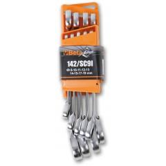 Komplet 9 kluczy płasko-oczkowych z dwukierunkowym mechanizmem zapadkowym 142 /SC9I