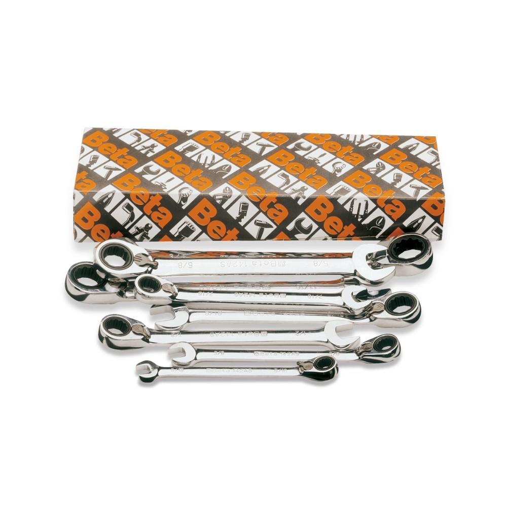 Serie di 8 chiavi combinate a cricchetto reversibile (art.142AS) - Beta 142AS/S