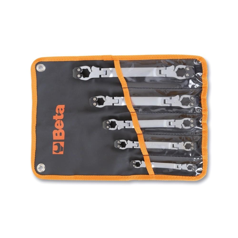Serie di 5 chiavi esagonali apribili snodate in busta. Ideale per raccordi di tubazione - Beta 187/B5