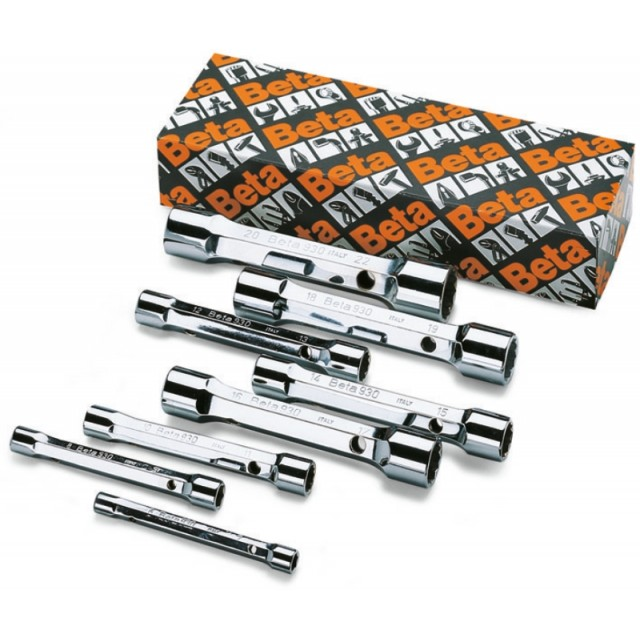 Serie di 8 chiavi a tubo doppie poligonali serie pesante (art. 930) - Beta 930/S