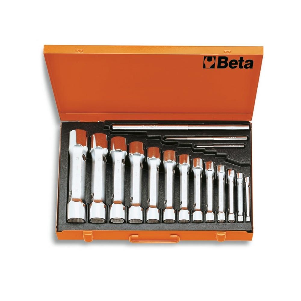 Serie di 13 chiavi a tubo doppie poligonali serie pesante (art. 930) in cassetta - Beta 930/C