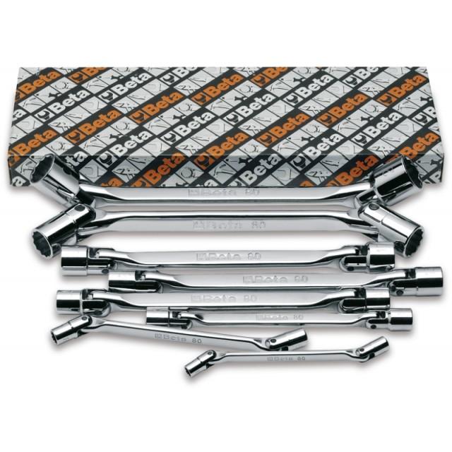 Serie di 8 chiavi a bussola poligonale snodate doppie (art. 80) - Beta 80/S