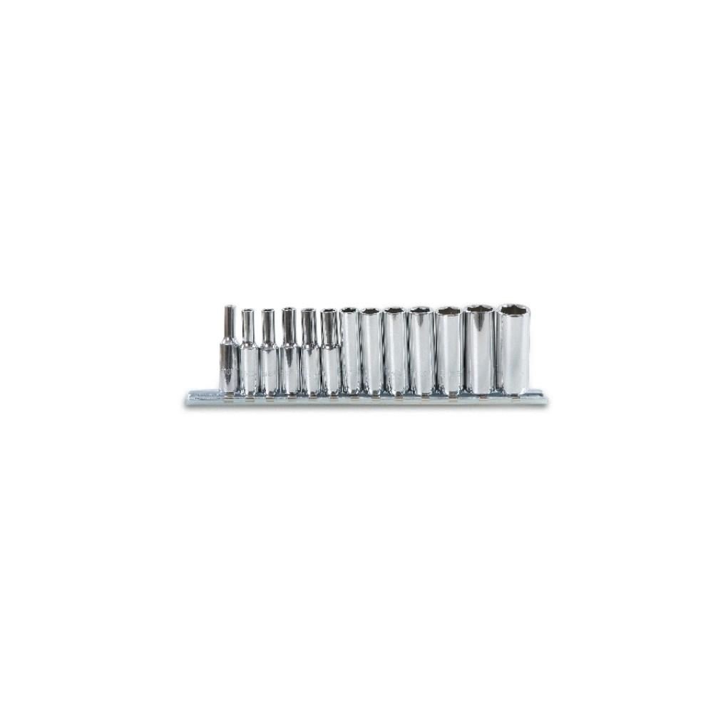 """Serie di chiavi a bussola lunghe con attacco quadro femmina 1/4"""" bocca esagonale, cromate - Beta 900L/SB"""