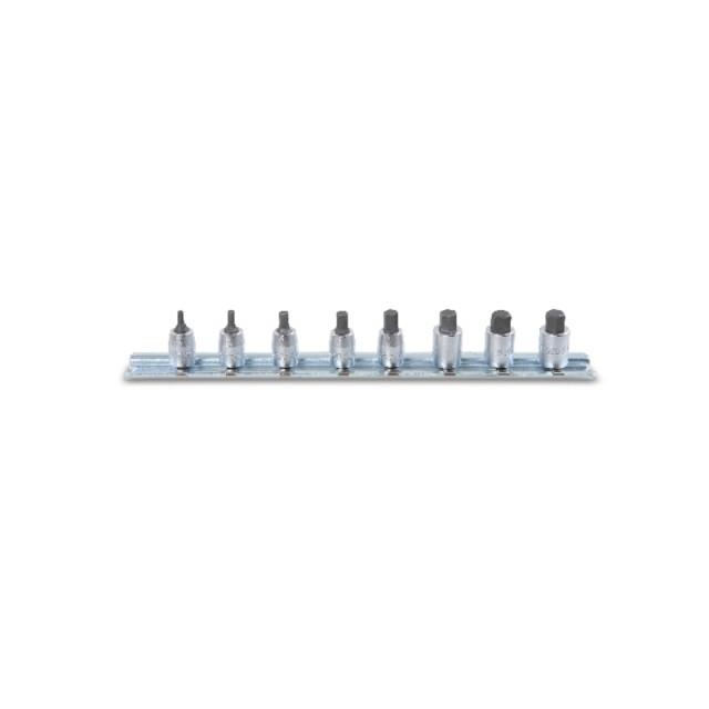 """Serie di chiavi a bussola  maschio esagonale  con attacco quadro  femmina 1/4"""" cromate  - Beta 900ME/SB8"""