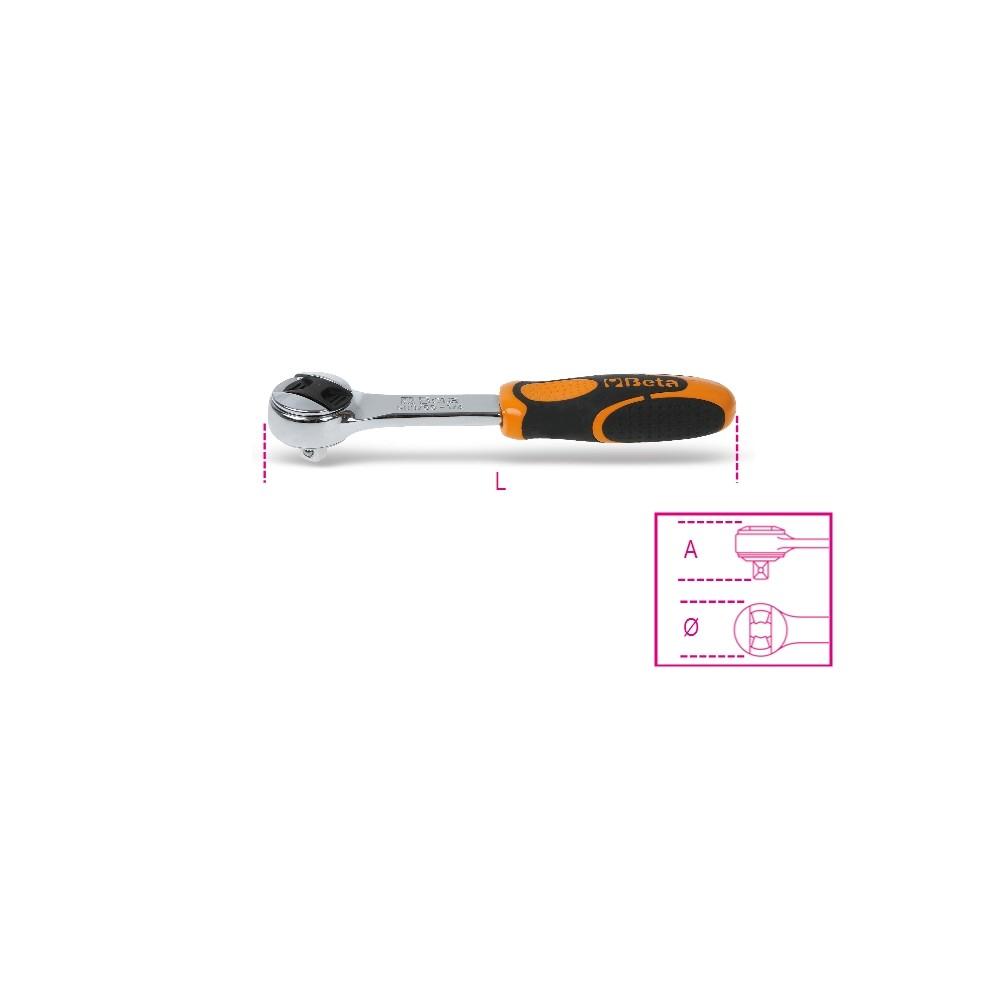 """Cricchetto reversibile con attacco quadro maschio 1/4"""" cromato - Beta 900/55"""