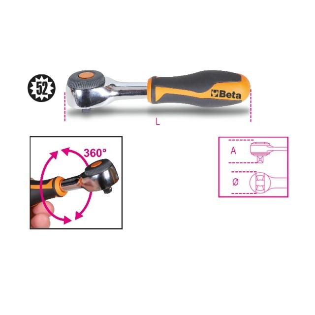 """Cricchetto reversibile  con impugnatura rotante con attacco quadro maschio 1/4"""" meccanismo a 52 denti  - Beta 900/58"""