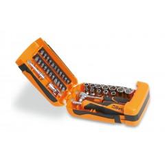 Coffret plastique comprenant 1 cliquet avec 11 douilles 6 pans, 21 embouts pour visseuses et 6 accessoires - Beta 900/C39