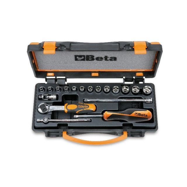 Assortimento di 13 chiavi a bussola esagonali e 5 accessori  in cassetta di lamiera - Beta 900/C13-5