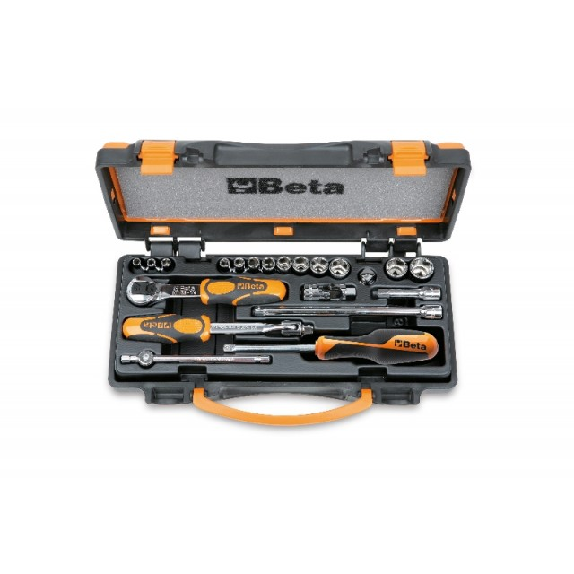 Assortimento di 13 chiavi a bussola esagonali e 8 accessori in cassetta di lamiera - Beta 900/C13-8