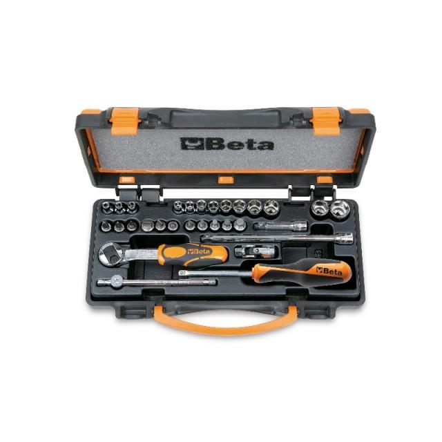 Assortimento di 13 chiavi a bussola esagonali, 11 a giravite e 6 accessori in cassetta di lamiera - Beta 900/C24