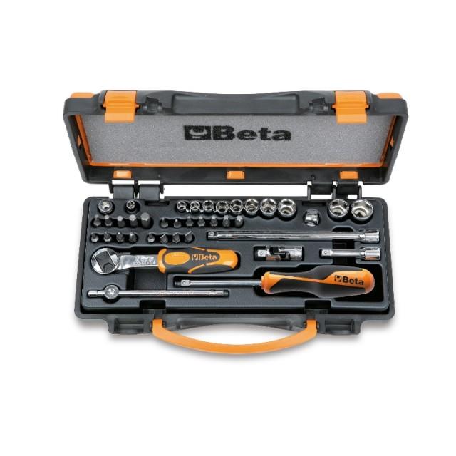 Assortimento di 11 chiavi a bussola esagonali, 20 inserti per avvitatori e 8 accessori in cassetta di lamiera - Beta 900/C11