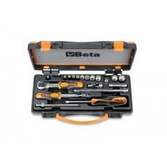 Assortimento di 11 chiavi a bussola poligonali e 8 accessori in cassetta di lamiera - Beta 900MB/C19