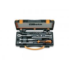10 chiavi a bussola poligonali e 7 accessori in cassetta di lamiera - Beta 900AS/C17-MBM