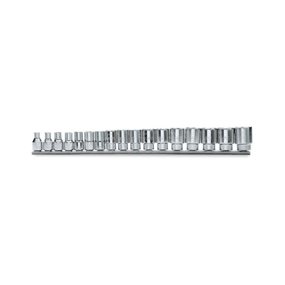 """Serie di chiavi a bussola con attacco quadro femmina 3/8"""" bocca esagonale, cromate - Beta 910A/SB"""