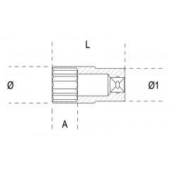 """Chiavi a bussola con attacco quadro    femmina 3/8"""", tipo lungo bocca esagonale, cromate - Beta 910AL"""