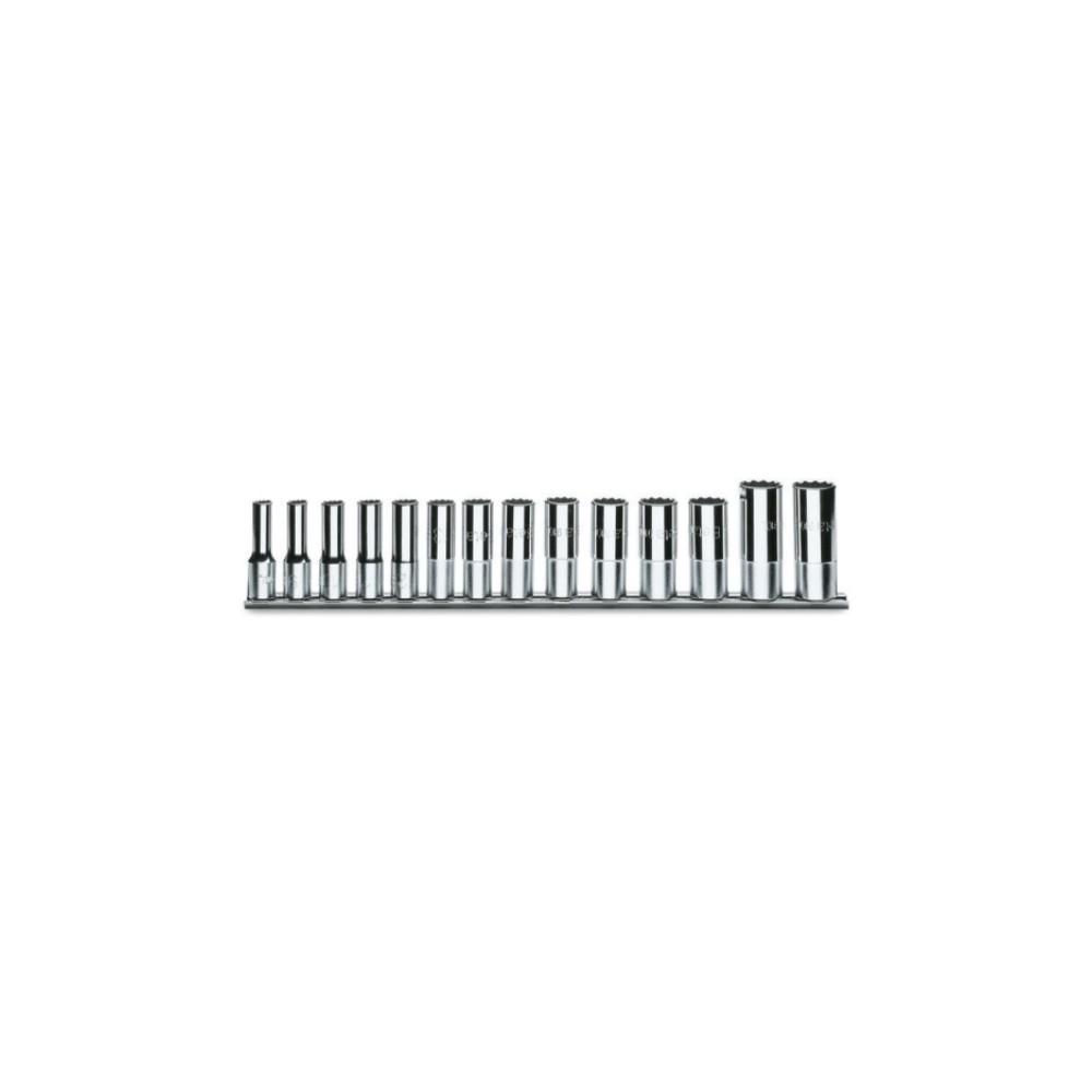 Serie di 14 chiavi a bussola a mano lunghe bocca esagonale (art. 910AL) su supporto - Beta 910AL/SB14