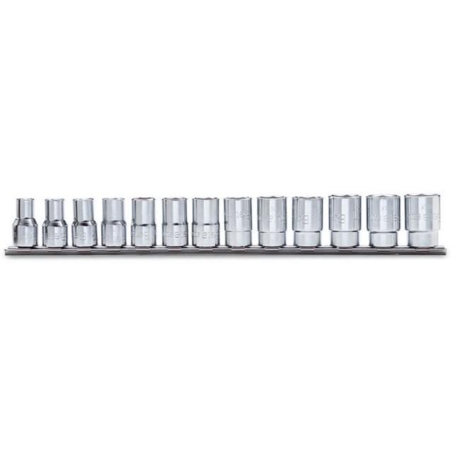 Serie di 13 chiavi a bussola a mano bocca poligonale (art. 910AS) su supporto - Beta 910AS/SB13