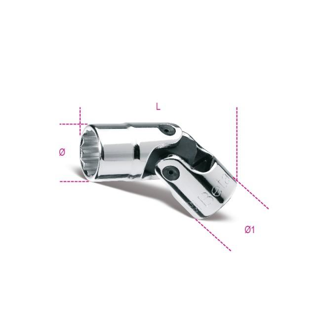 """Chiavi a bussola snodate con attacco quadro femmina 3/8"""" bocca poligonale, cromate - Beta 910B/SN"""