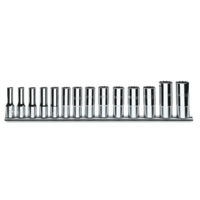 Serie di 14 chiavi a bussola a mano lunghe bocca poligonale (art. 910BL) su supporto - Beta 910BL/SB