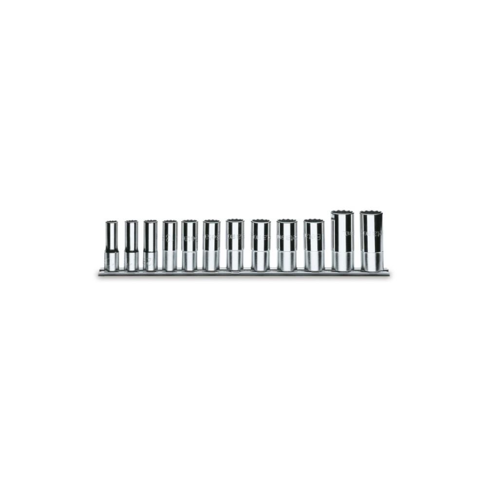 Serie di 12 chiavi a bussola a mano lunghe bocca poligonale (art. 910AS/L) su supporto - Beta 910ASL/SB12