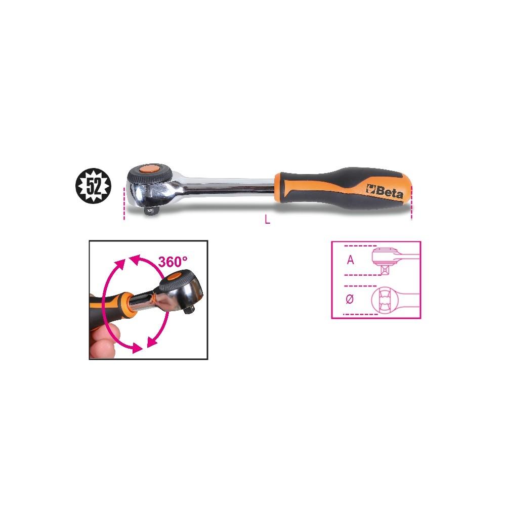 """Cricchetto reversibile  con impugnatura rotante  con attacco quadro maschio 3/8"""" meccanismo a 52 denti - Beta 910/58"""
