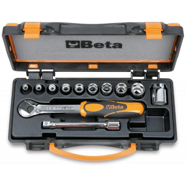 Assortimento di 10 chiavi a bussola e 2 accessori in cassetta di lamiera - Beta 910.../C10