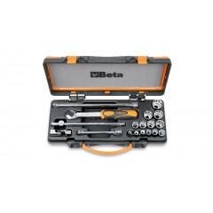 Assortimento 13 chiavi a bussola poligonali e 5 accessori in cassetta di lamiera - Beta 910AS/C13...