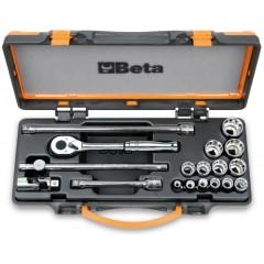 Assortimento di 13 chiavi a bussola poligonali e 5 accessori in cassetta di lamiera - Beta 910AS/MBM-C18