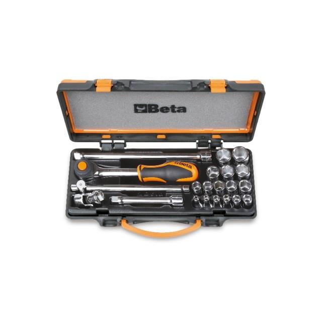 Assortimento di 16 chiavi a bussola esagonali e 5 accessori  in cassetta di lamiera - Beta 910A/C16HR