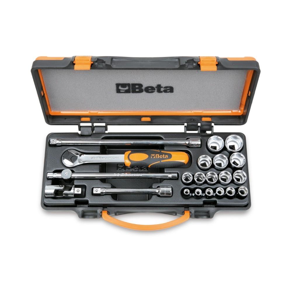 Assortimento di 16 chiavi a bussola esagonali e 5 accessori in cassetta di lamiera - Beta 910A/C16...
