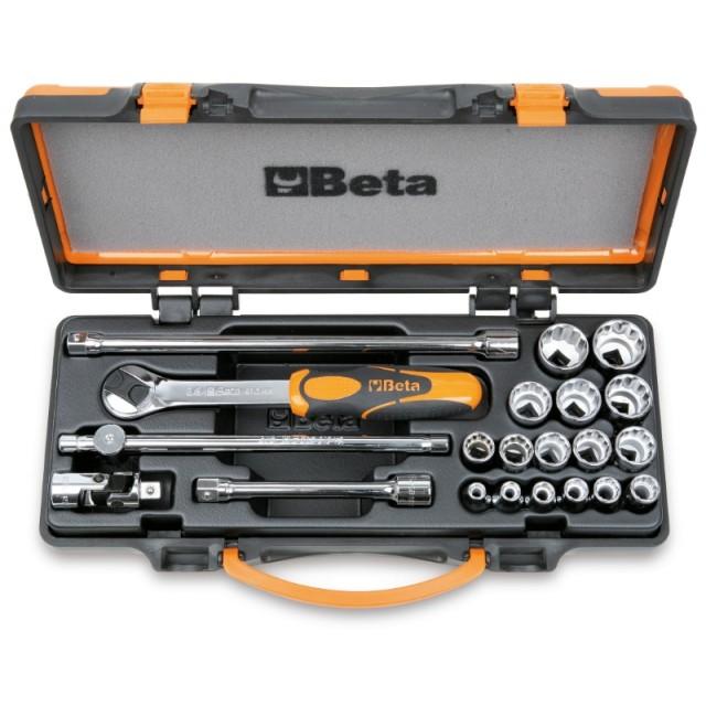 Assortimento di 16 chiavi a bussola poligonali e 5 accessori in cassetta di lamiera - Beta 910B/C16...