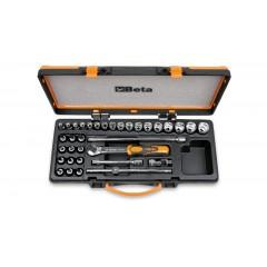 Assortimento di 17 chiavi a bussola 12 a giravite e 5 accessori in cassetta di lamiera - Beta 910.../C29