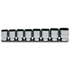 Serie di 8 chiavi a bussola a mano bocca poligonale (art. 920B) su supporto - Beta 920B/SB8