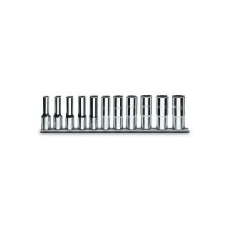 Serie di 11 chiavi a bussola a mano lunghe bocca poligonale (art. 920BL) su supporto - Beta 920BL/SB11