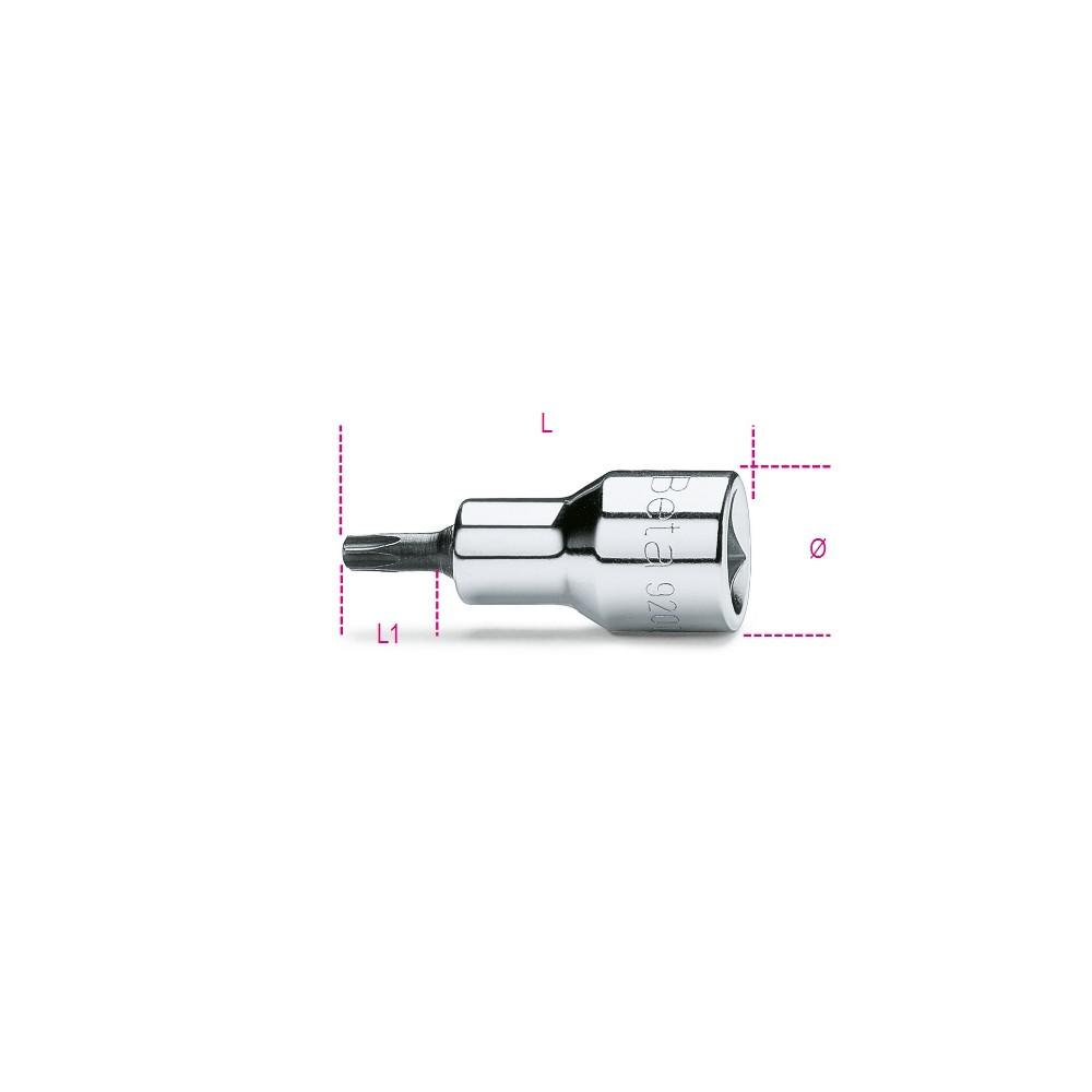 """Chiavi a bussola maschio per viti con impronta Tamper Resistant Torx , con attacco quadro femmina 1/2"""" cromate... - Beta 920RTX"""