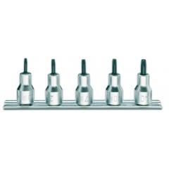 Serie di 5 chiavi a bussola maschio per viti con impronta Tamper Resistant Torx  (art. 920RTX) su supporto - Beta 920RTX/SB