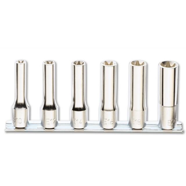 Serie di 6 chiavi a bussola a mano lunghe per viti con testa a profilo Torx  (art. 920FTX/L) su supporto - Beta 920FTX/LSB