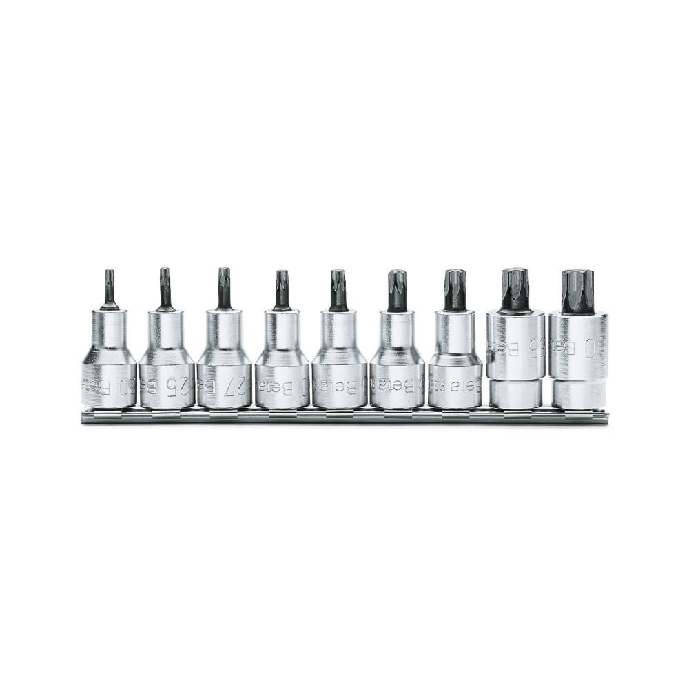Serie di 9 chiavi a bussola maschio per viti con impronta Torx  (art. 920TX) su supporto - Beta 920TX/SB