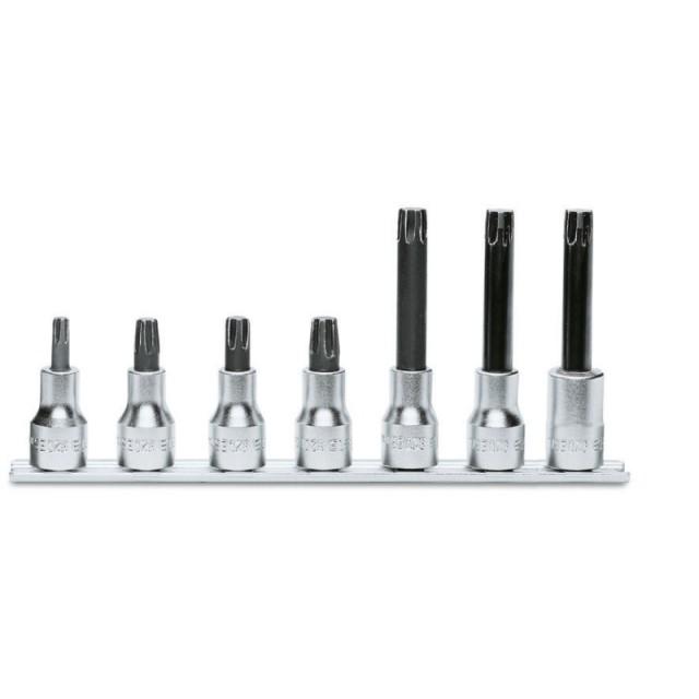 Serie di 7 chiavi a bussola per viti con impronta esascanalata (art. 920ES) su supporto - Beta 920ES/SB
