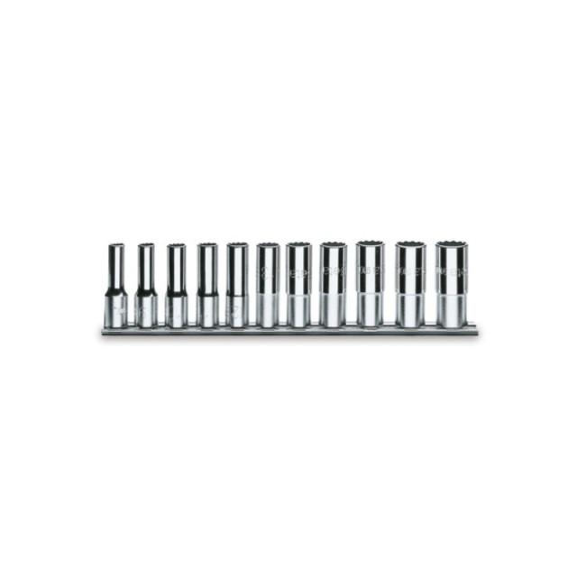 Serie di 11 chiavi a bussola a mano lunghe bocca esagonale (art. 920AL) su supporto - Beta 920AL/SB11