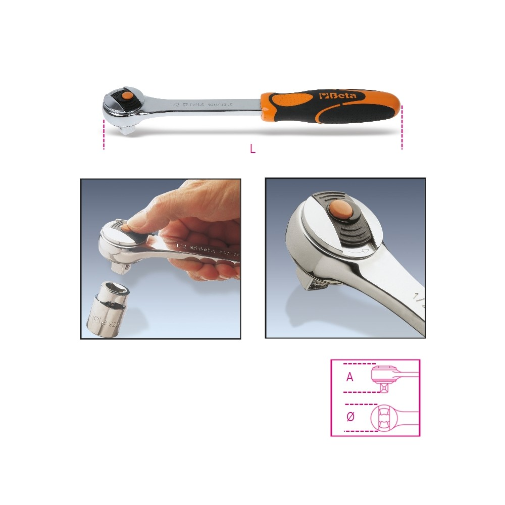 "1/2"" drive reversible ratchet ""Locking System"", 72 teeth - Beta 920/55LC"