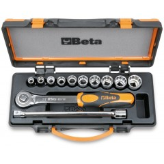 Assortimento di 10 chiavi a bussola poligonali e 2 accessori in cassetta di lamiera - Beta 920AS/C10
