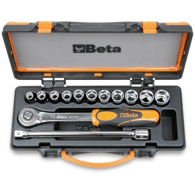 Assortimento di 11 chiavi a bussola esagonali e 2 accessori in cassetta di lamiera - Beta 920.../C11