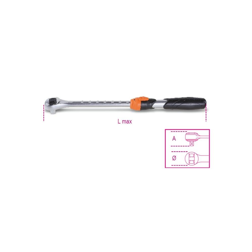 """Cricchetto estensibile reversibile con attacco quadro maschio 1/2"""" meccanismo a 72 denti - Beta 920/55L"""